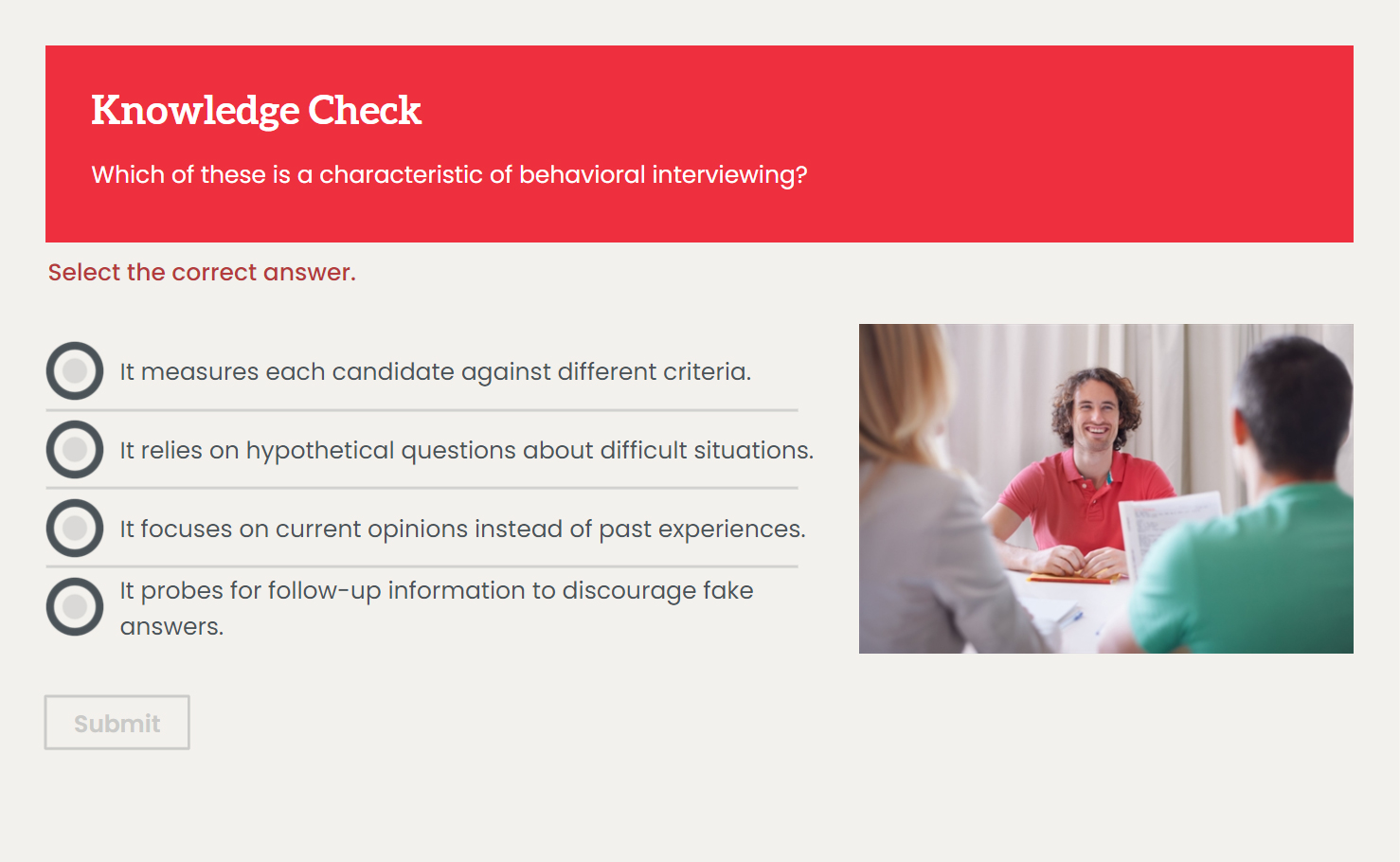 Knowledge Check: Behavioral Interviewing